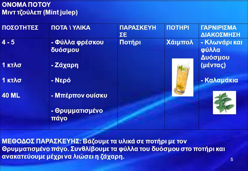 6 ΟΝΟΜΑ ΠΟΤΟΥ Όλντ Τζώρτζια (Οld Georgia) ΠΟΣΟΤΗΤΕΣΠΟΤΑ \ ΥΛΙΚΑΠΑΡΑΣΚΕΥΗ ΣΕ ΠΟΤΗΡΙΓΑΡΝΙΡΙΣΜΑ ΔΙΑΚΟΣΜΗΣΗ 4 - 5 1 κτλσ 1 κτλσ 40 ML - Φύλλα φρέσκου δυόσμου - Ζάχαρη - Νερό - Μπράντι χρυσομήλου - Θρυμματισμένο πάγο ΠοτήριΧάιμπολ - Κλωνάρι και φύλλα δυόσμου (μέντας) - Καλαμάκια ΜΕΘΟΔΟΣ ΠΑΡΑΣΚΕΥΗΣ: Βάζουμε τα υλικά σε ποτήρι με τον θρυμματισμένο πάγο.