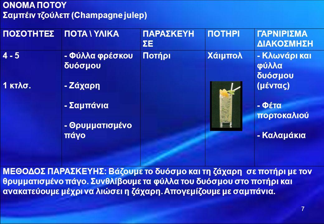 7 ΟΝΟΜΑ ΠΟΤΟΥ Σαμπέιν τζούλεπ (Champagne julep) ΠΟΣΟΤΗΤΕΣΠΟΤΑ \ ΥΛΙΚΑΠΑΡΑΣΚΕΥΗ ΣΕ ΠΟΤΗΡΙΓΑΡΝΙΡΙΣΜΑ ΔΙΑΚΟΣΜΗΣΗ 4 - 5 1 κτλσ. - Φύλλα φρέσκου δυόσμου -