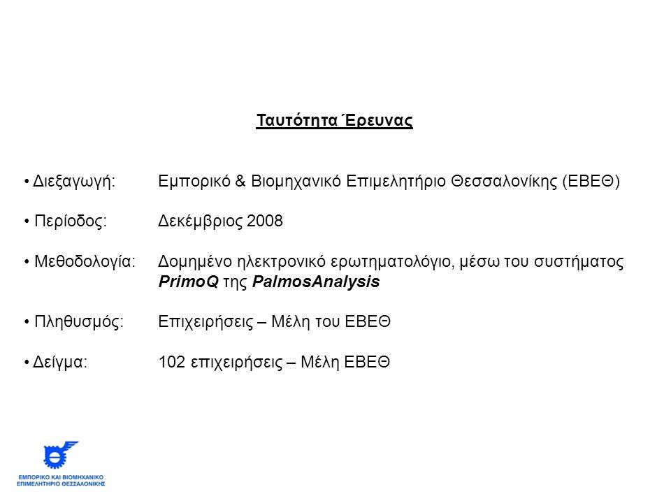 Ταυτότητα Έρευνας Διεξαγωγή: Εμπορικό & Βιομηχανικό Επιμελητήριο Θεσσαλονίκης (ΕΒΕΘ) Περίοδος:Δεκέμβριος 2008 Μεθοδολογία: Δομημένο ηλεκτρονικό ερωτηματολόγιο, μέσω του συστήματος PrimoQ της PalmosAnalysis Πληθυσμός:Επιχειρήσεις – Μέλη του ΕΒΕΘ Δείγμα:102 επιχειρήσεις – Μέλη ΕΒΕΘ
