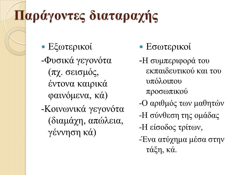 Παράγοντες διαταραχής Εξωτερικοί -Φυσικά γεγονότα (πχ. σεισμός, έντονα καιρικά φαινόμενα, κά) -Κοινωνικά γεγονότα (διαμάχη, απώλεια, γέννηση κά) Εσωτε