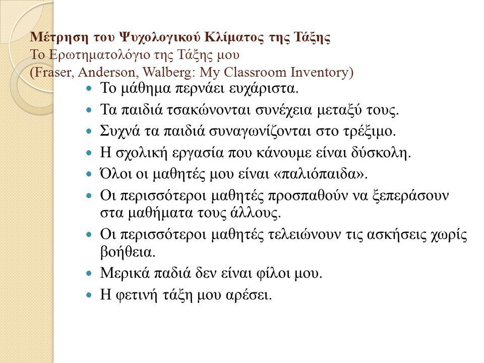 Μέτρηση του Ψυχολογικού Κλίματος της Τάξης Το Ερωτηματολόγιο της Τάξης μου (Fraser, Anderson, Walberg: My Classroom Inventory) Το μάθημα περνάει ευχάρ