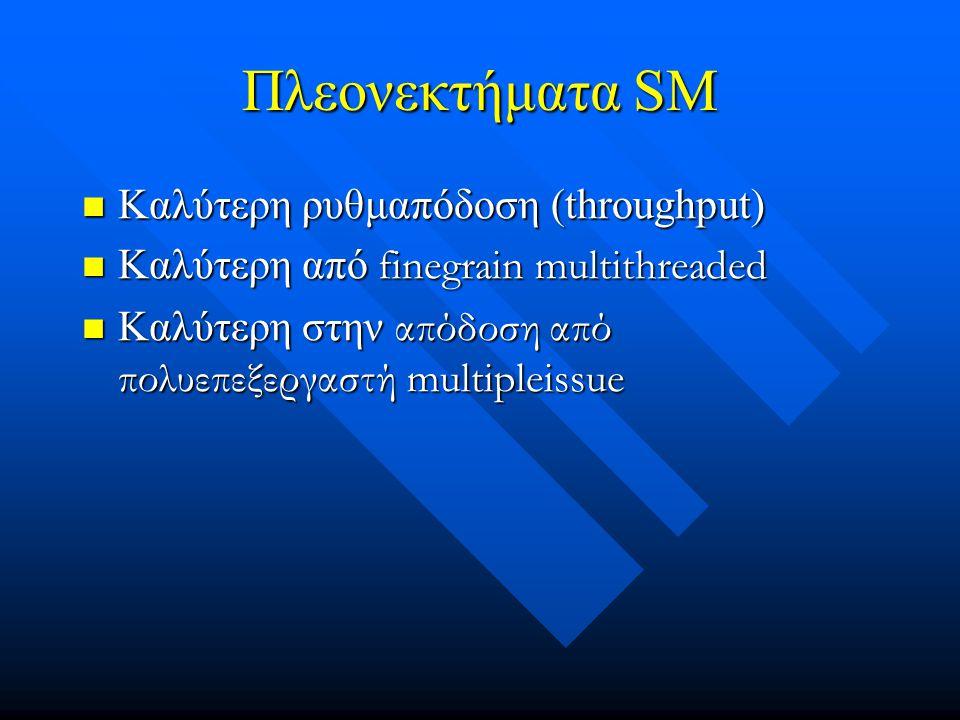 Πλεονεκτήματα SM Καλύτερη ρυθμαπόδοση (throughput) Καλύτερη ρυθμαπόδοση (throughput) Καλύτερη από finegrain multithreaded Καλύτερη από finegrain multithreaded Καλύτερη στην απόδοση από πολυεπεξεργαστή multipleissue Καλύτερη στην απόδοση από πολυεπεξεργαστή multipleissue