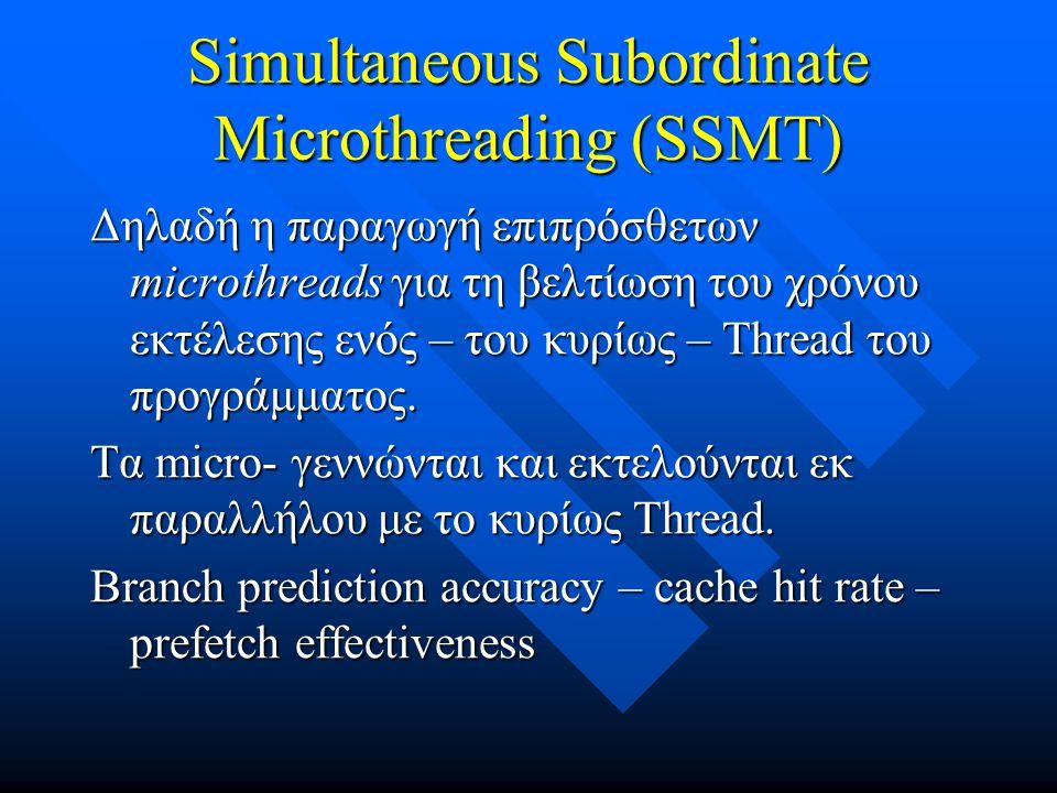 Simultaneous Subordinate Microthreading (SSMT) Δηλαδή η παραγωγή επιπρόσθετων microthreads για τη βελτίωση του χρόνου εκτέλεσης ενός – του κυρίως – Thread του προγράμματος.