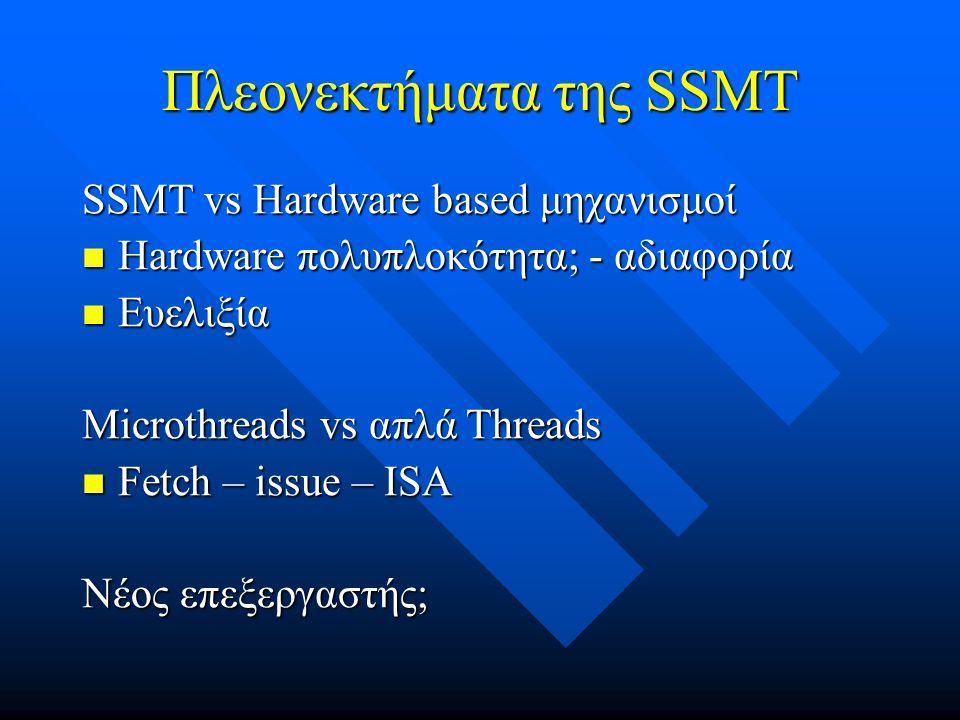 Πλεονεκτήματα της SSMT SSMT vs Hardware based μηχανισμοί Hardware πολυπλοκότητα; - αδιαφορία Hardware πολυπλοκότητα; - αδιαφορία Ευελιξία Ευελιξία Microthreads vs απλά Threads Fetch – issue – ISA Fetch – issue – ISA Νέος επεξεργαστής;