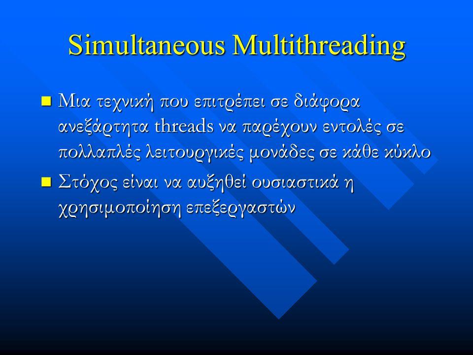 Simultaneous Multithreading Μια τεχνική που επιτρέπει σε διάφορα ανεξάρτητα threads να παρέχουν εντολές σε πολλαπλές λειτουργικές μονάδες σε κάθε κύκλο Μια τεχνική που επιτρέπει σε διάφορα ανεξάρτητα threads να παρέχουν εντολές σε πολλαπλές λειτουργικές μονάδες σε κάθε κύκλο Στόχος είναι να αυξηθεί ουσιαστικά η χρησιμοποίηση επεξεργαστών Στόχος είναι να αυξηθεί ουσιαστικά η χρησιμοποίηση επεξεργαστών
