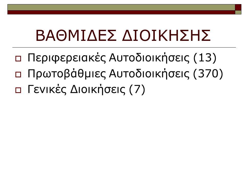 ΒΑΘΜΙΔΕΣ ΔΙΟΙΚΗΣΗΣ  Περιφερειακές Αυτοδιοικήσεις (13)  Πρωτοβάθμιες Αυτοδιοικήσεις (370)  Γενικές Διοικήσεις (7)