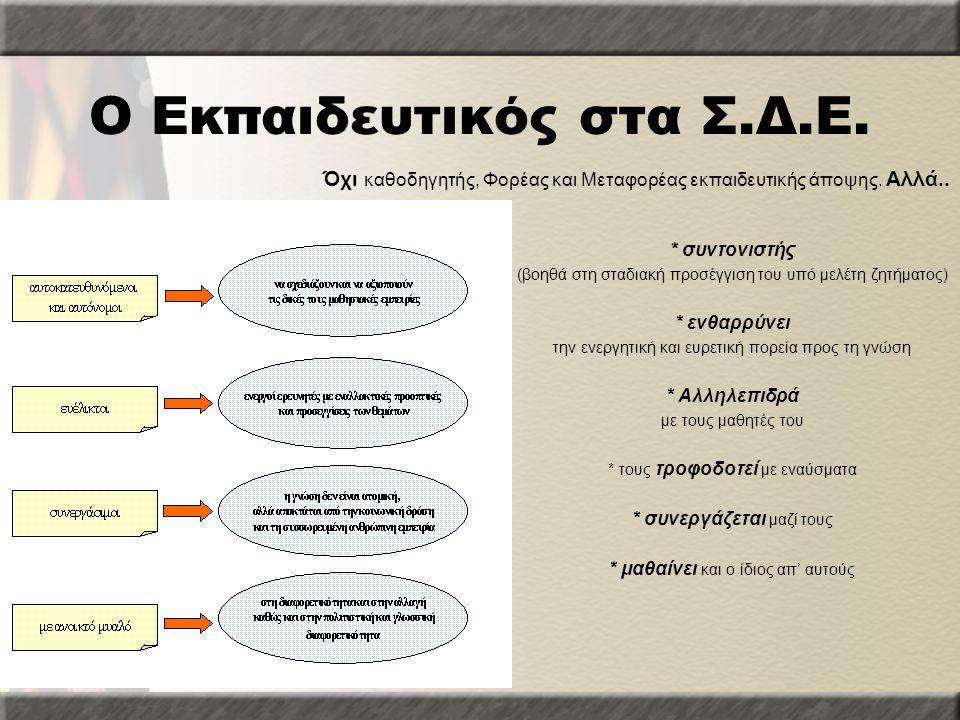 Ο Εκπαιδευτικός στα Σ.Δ.Ε. * συντονιστής (βοηθά στη σταδιακή προσέγγιση του υπό μελέτη ζητήματος) * ενθαρρύνει την ενεργητική και ευρετική πορεία προς