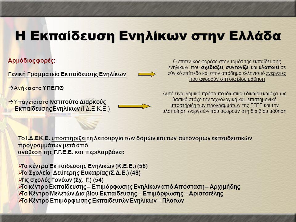 Η Εκπαίδευση Ενηλίκων στην Ελλάδα Αρμόδιος φορές: Γενική Γραμματεία Εκπαίδευσης Ενηλίκων  Ανήκει στο ΥΠΕΠΘ  Υπάγεται στο Ινστιτούτο Διαρκούς Εκπαίδε