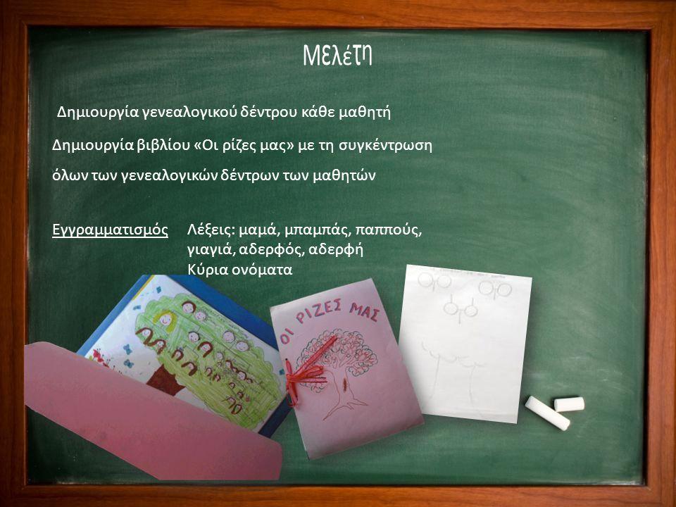 Μελέτη Δημιουργία γενεαλογικού δέντρου κάθε μαθητή Δημιουργία βιβλίου «Οι ρίζες μας» με τη συγκέντρωση όλων των γενεαλογικών δέντρων των μαθητών Εγγρα