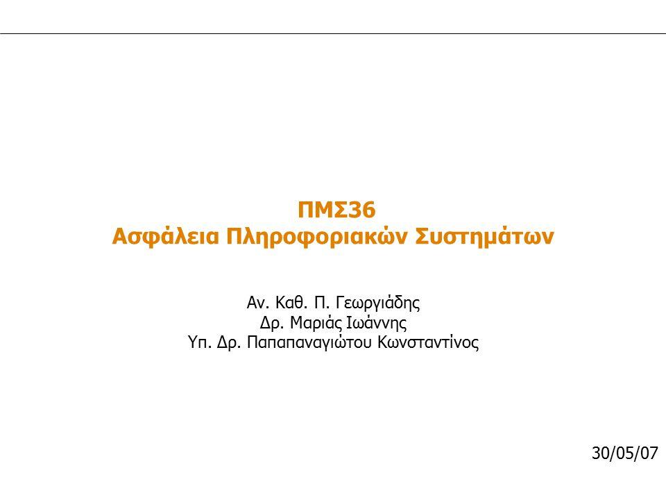 ΠΜΣ 36 / 2007 Δρ. Μαριάς Ιωάννης 1 ΠΜΣ36 Ασφάλεια Πληροφοριακών Συστημάτων Αν. Καθ. Π. Γεωργιάδης Δρ. Μαριάς Ιωάννης Υπ. Δρ. Παπαπαναγιώτου Κωνσταντίν