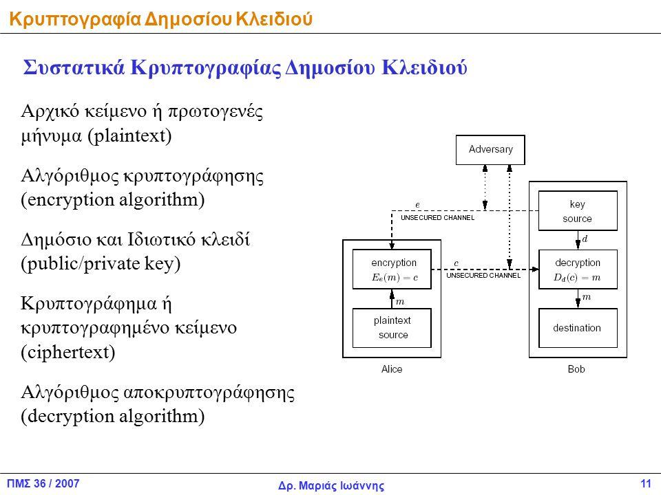ΠΜΣ 36 / 2007 Δρ. Μαριάς Ιωάννης 11 Κρυπτογραφία Δημοσίου Κλειδιού Αρχικό κείμενο ή πρωτογενές μήνυμα (plaintext) Αλγόριθμος κρυπτογράφησης (encryptio