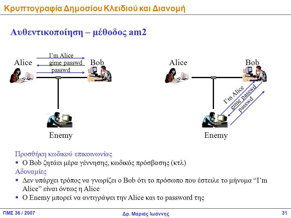 ΠΜΣ 36 / 2007 Δρ. Μαριάς Ιωάννης 31 Αυθεντικοποίηση – μέθοδος am2 AliceBob Enemy I'm Alice AliceBob Enemy Προσθήκη κωδικού επικοινωνίας  O Bob ζητάει
