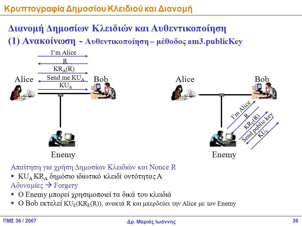 ΠΜΣ 36 / 2007 Δρ. Μαριάς Ιωάννης 39 (1) Ανακοίνωση - Αυθεντικοποίηση – μέθοδος am3.publicKey Διανομή Δημοσίων Κλειδιών και Αυθεντικοποίηση AliceBob En