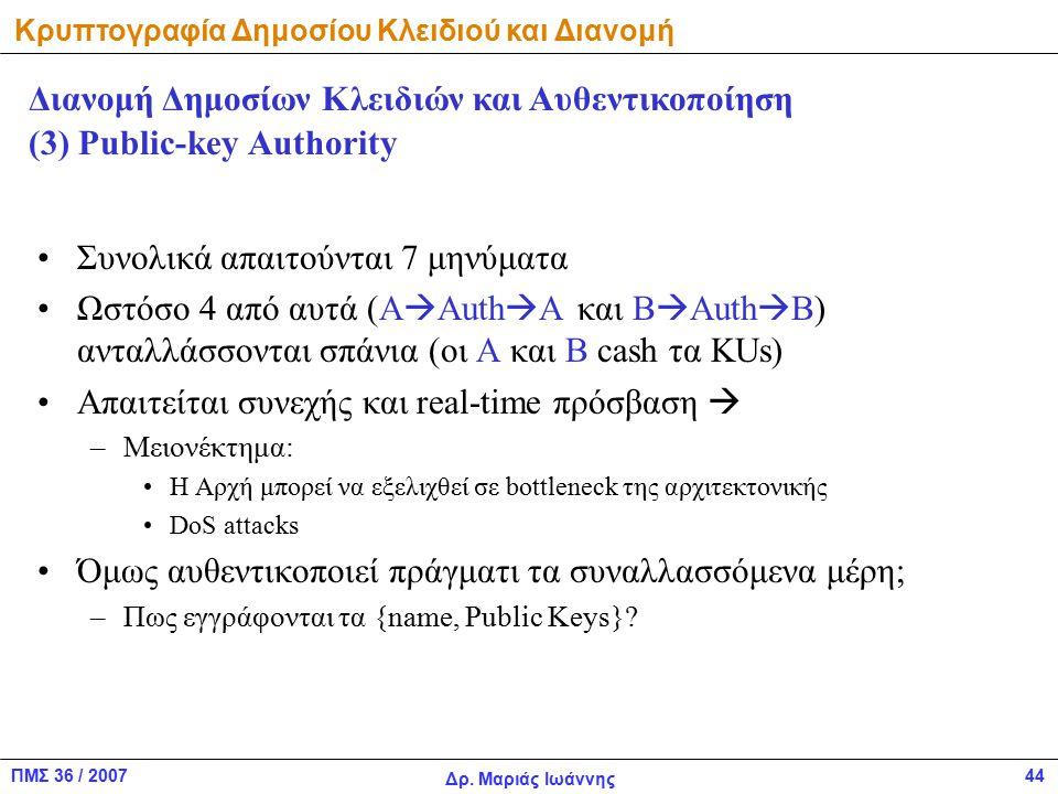 ΠΜΣ 36 / 2007 Δρ. Μαριάς Ιωάννης 44 (3) Public-key Authority Συνολικά απαιτούνται 7 μηνύματα Ωστόσο 4 από αυτά (A  Auth  A και B  Auth  B) ανταλλά