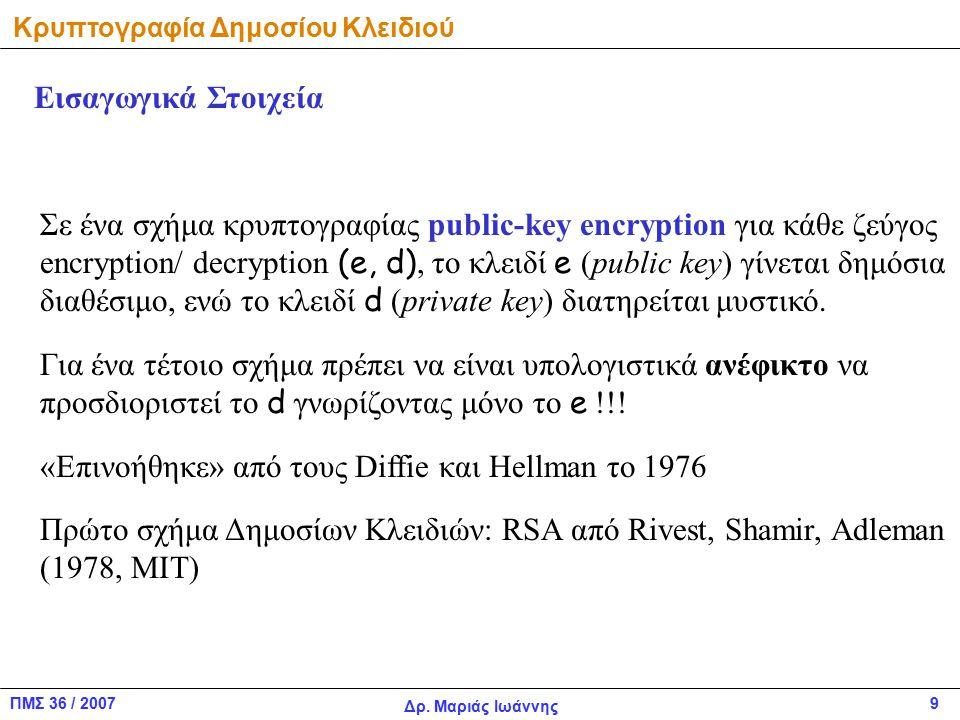 ΠΜΣ 36 / 2007 Δρ. Μαριάς Ιωάννης 9 Κρυπτογραφία Δημοσίου Κλειδιού Εισαγωγικά Στοιχεία Σε ένα σχήμα κρυπτογραφίας public-key encryption για κάθε ζεύγος
