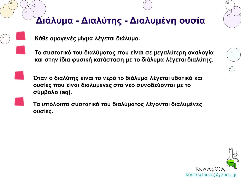 Κων/νος Θέος, kostasctheos@yahoo.gr kostasctheos@yahoo.gr Διάλυμα - Διαλύτης - Διαλυμένη ουσία Κάθε ομογενές μίγμα λέγεται διάλυμα. Όταν ο διαλύτης εί