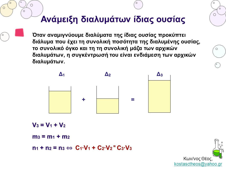 Κων/νος Θέος, kostasctheos@yahoo.gr kostasctheos@yahoo.gr Ανάμειξη διαλυμάτων ίδιας ουσίας Όταν αναμιγνύουμε διαλύματα της ίδιας ουσίας προκύπτει διάλ