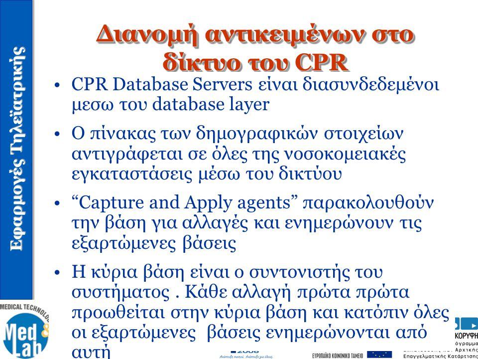 Εφαρμογές Τηλεϊατρικής Διανομή αντικειμένων στο δίκτυο του CPR CPR Database Servers είναι διασυνδεδεμένοι μεσω του database layer Ο πίνακας των δημογρ