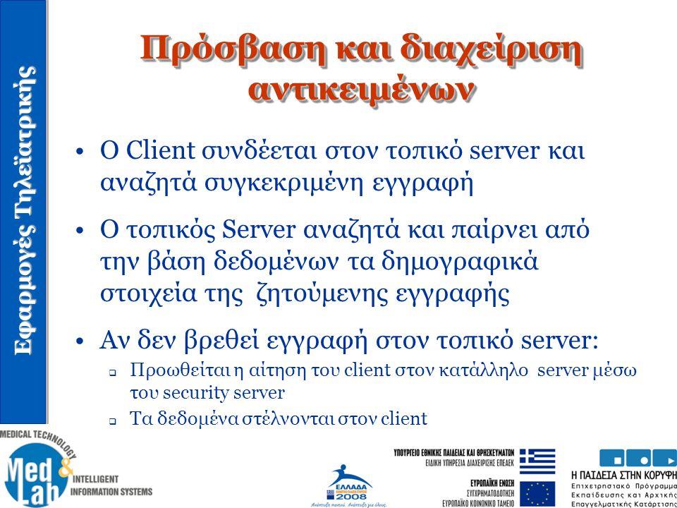 Εφαρμογές Τηλεϊατρικής O Client συνδέεται στον τοπικό server και αναζητά συγκεκριμένη εγγραφή Ο τοπικός Server αναζητά και παίρνει από την βάση δεδομέ