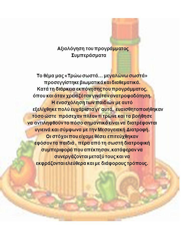 Αξιολόγηση του προγράμματος Συμπεράσματα Το θέμα μας «Τρώω σωστά… μεγαλώνω σωστά» προσεγγίστηκε βιωματικά και διαθεματικά.