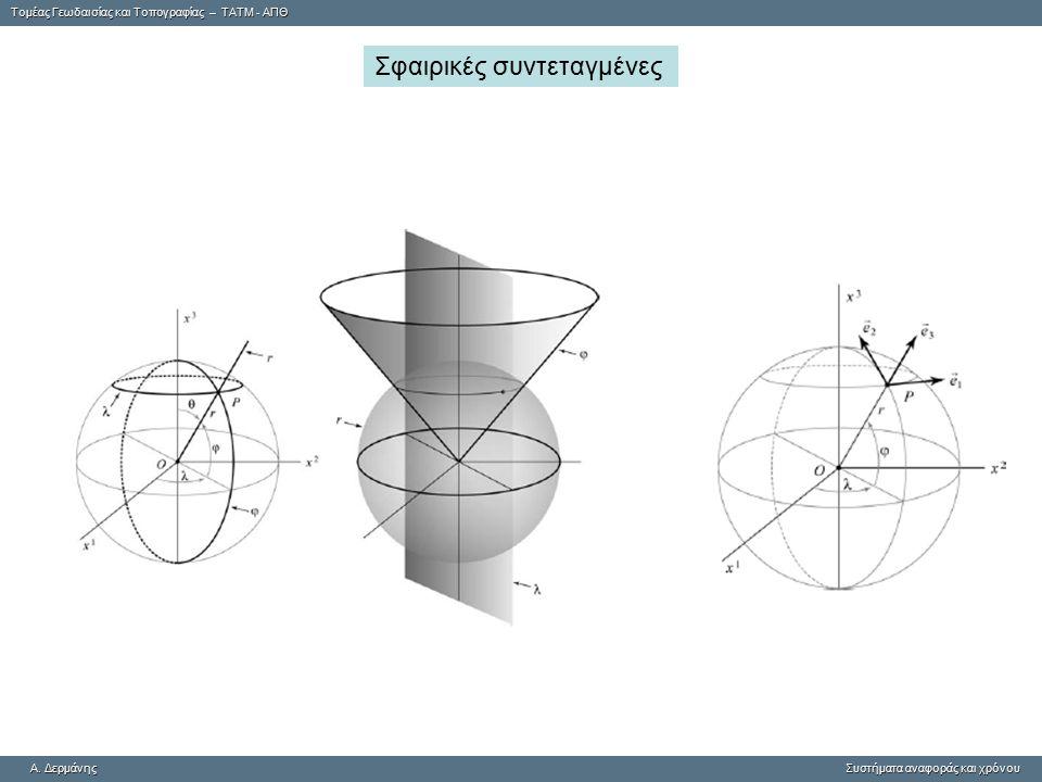 Tομέας Γεωδαισίας και Τοπογραφίας – ΤΑΤΜ - ΑΠΘ A. ΔερμάνηςΣυστήματα αναφοράς και χρόνου A. Δερμάνης Συστήματα αναφοράς και χρόνου Σφαιρικές συντεταγμέ