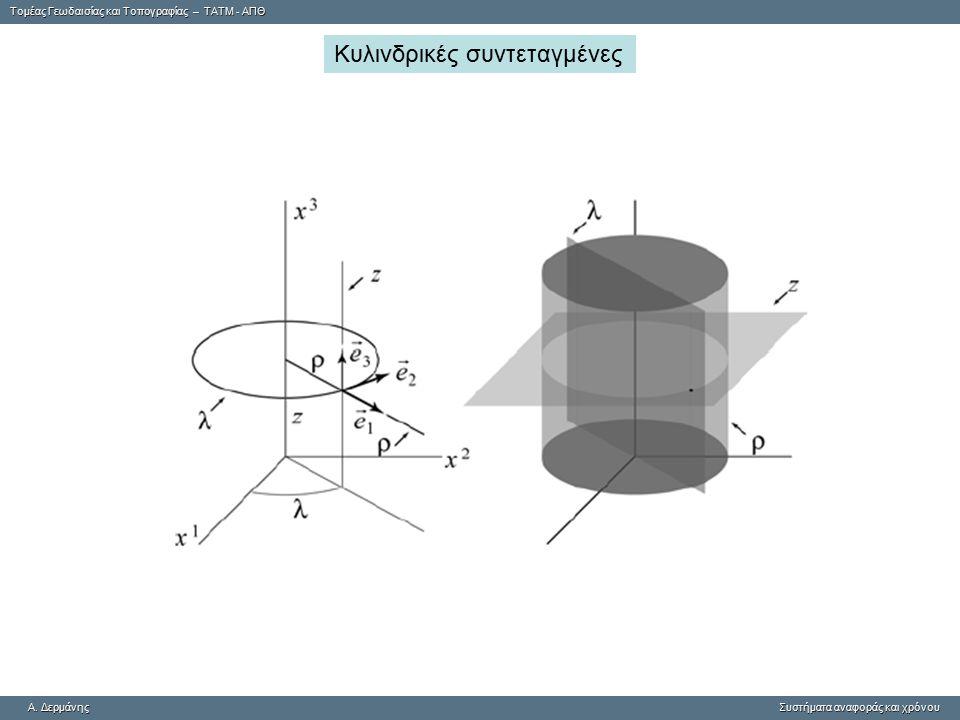 Tομέας Γεωδαισίας και Τοπογραφίας – ΤΑΤΜ - ΑΠΘ A. ΔερμάνηςΣυστήματα αναφοράς και χρόνου A. Δερμάνης Συστήματα αναφοράς και χρόνου Κυλινδρικές συντεταγ