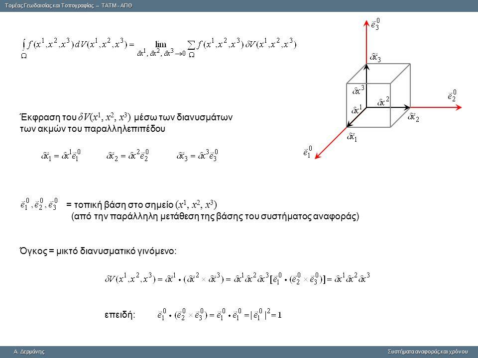 Tομέας Γεωδαισίας και Τοπογραφίας – ΤΑΤΜ - ΑΠΘ A. ΔερμάνηςΣυστήματα αναφοράς και χρόνου A. Δερμάνης Συστήματα αναφοράς και χρόνου Έκφραση του δV(x 1,