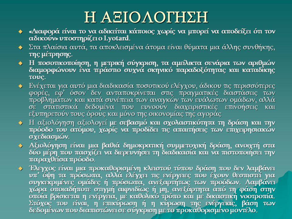 Η ΑΞΙΟΛΟΓΗΣΗ  «Διαφορά είναι το να αδικείται κάποιος χωρίς να μπορεί να αποδείξει ότι τον αδικούν» υποστηρίζει ο Lyotard.  Στα πλαίσια αυτά, τα αποκ