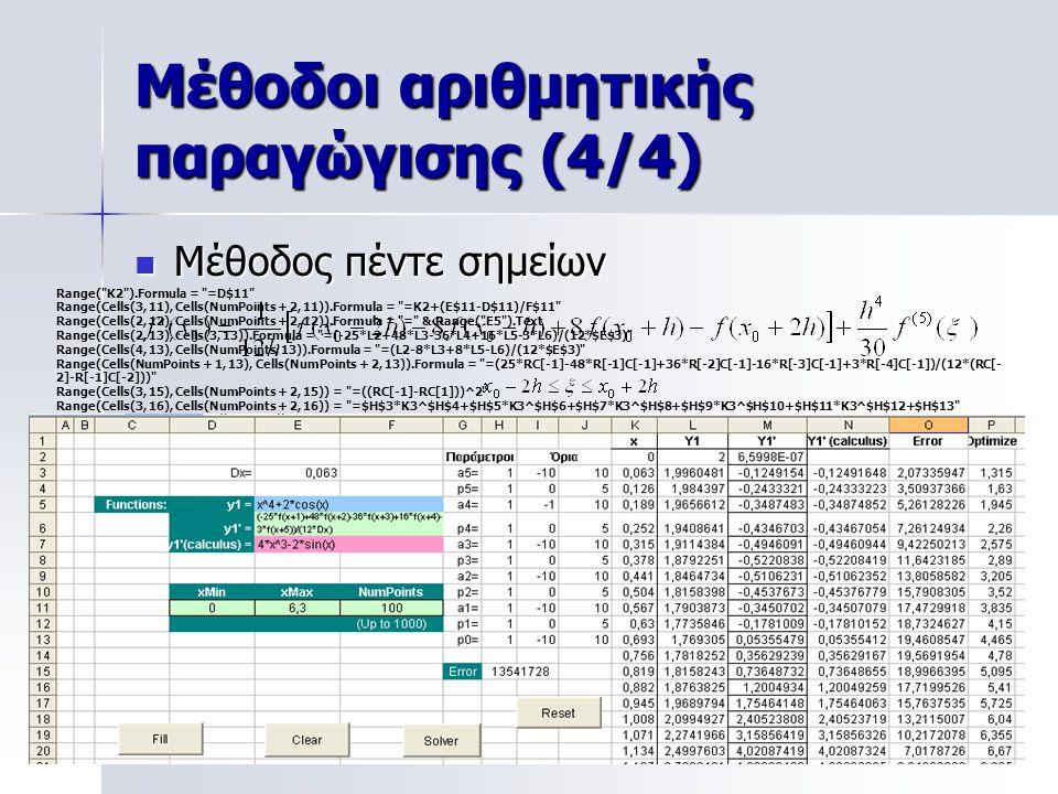 Μέθοδοι αριθμητικής παραγώγισης (4/4) Μέθοδος πέντε σημείων Μέθοδος πέντε σημείων x 0+h X 0-h x 0+2h X 0-2h x0x0 Range(
