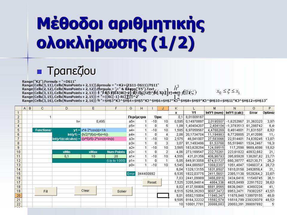 Μέθοδοι αριθμητικής ολοκλήρωσης (1/2) Τραπεζίου Τραπεζίου x0x0 x1x1 f(x 0 ) f(x 1 ) Range(