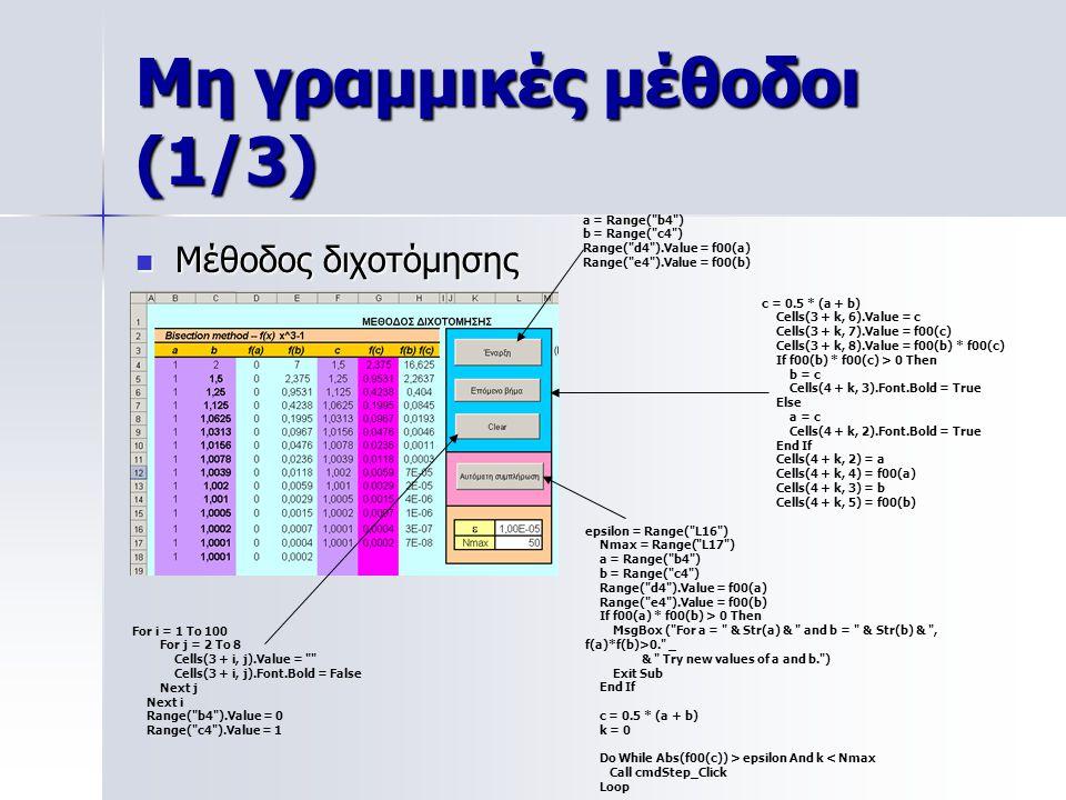 Μη γραμμικές μέθοδοι (1/3) Μέθοδος διχοτόμησης Μέθοδος διχοτόμησης a = Range(