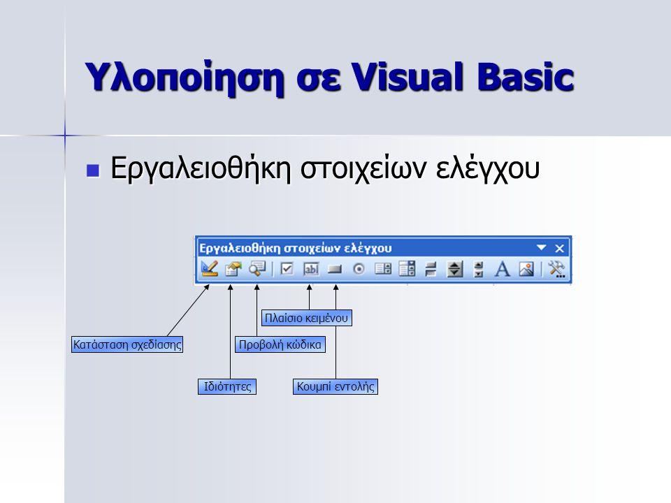 Υλοποίηση σε Visual Basic Εργαλειοθήκη στοιχείων ελέγχου Εργαλειοθήκη στοιχείων ελέγχου Κουμπί εντολής Κατάσταση σχεδίασης Ιδιότητες Προβολή κώδικα Πλ