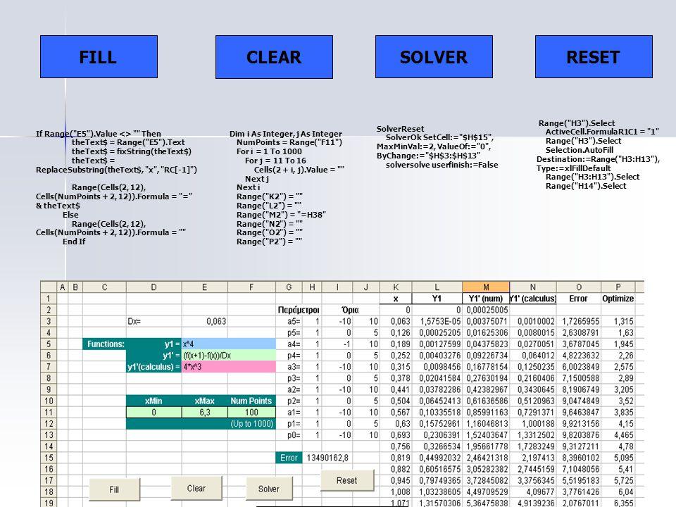 FILL CLEAR SOLVER Dim i As Integer, j As Integer NumPoints = Range(