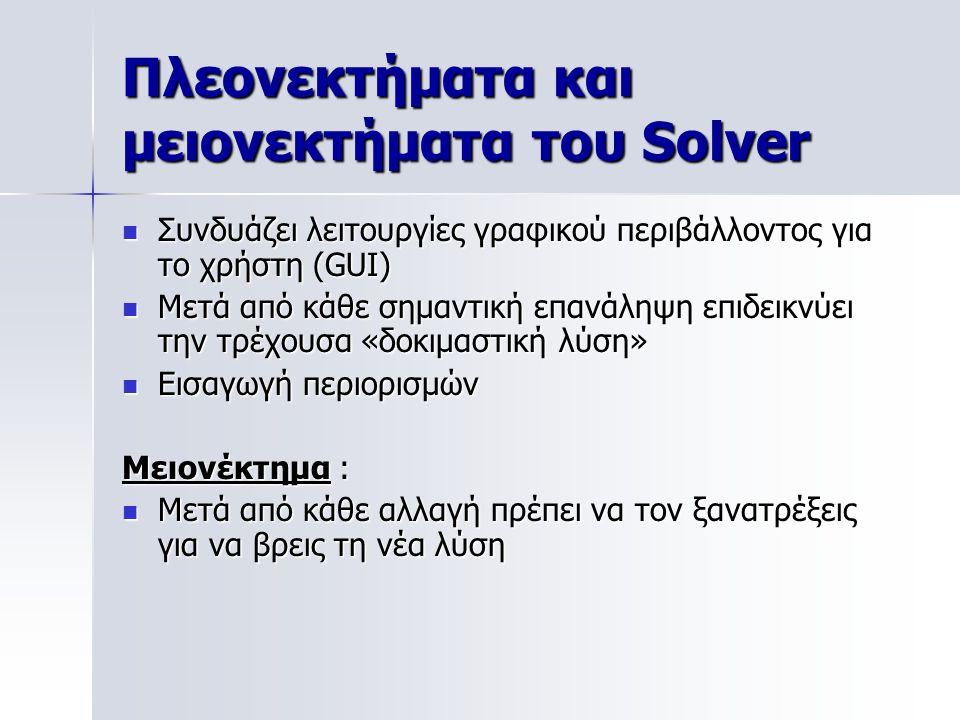 Πλεονεκτήματα και μειονεκτήματα του Solver Συνδυάζει λειτουργίες γραφικού περιβάλλοντος για το χρήστη (GUI) Συνδυάζει λειτουργίες γραφικού περιβάλλοντ