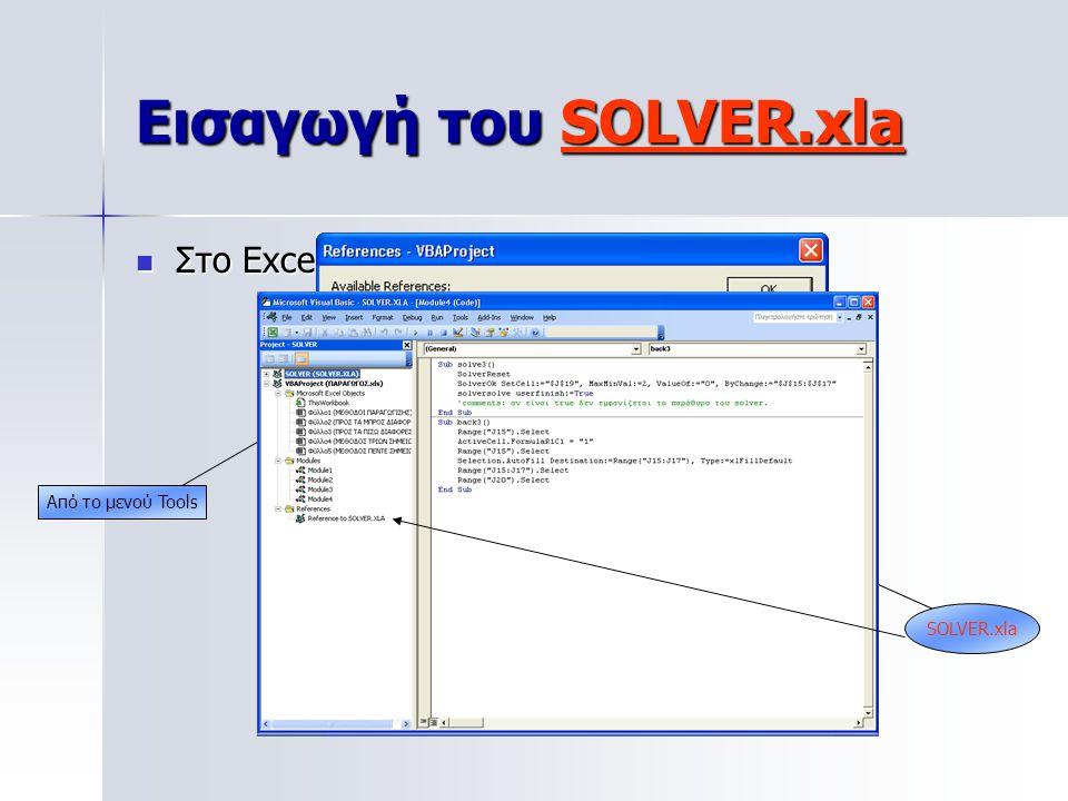 Εισαγωγή του SOLVER.xla Στο Excel Alt+F11 Στο Excel Alt+F11 Από το μενού Tools SOLVER.xla