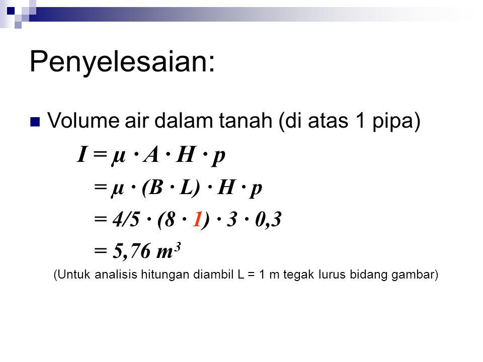 Penyelesaian: Volume air dalam tanah (di atas 1 pipa) I = µ · A · H · p = µ · (B · L) · H · p = 4/5 · (8 · 1) · 3 · 0,3 = 5,76 m 3 (Untuk analisis hitungan diambil L = 1 m tegak lurus bidang gambar)