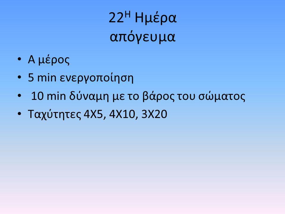 22 Η Ημέρα απόγευμα Α μέρος 5 min ενεργοποίηση 10 min δύναμη με το βάρος του σώματος Ταχύτητες 4Χ5, 4Χ10, 3Χ20