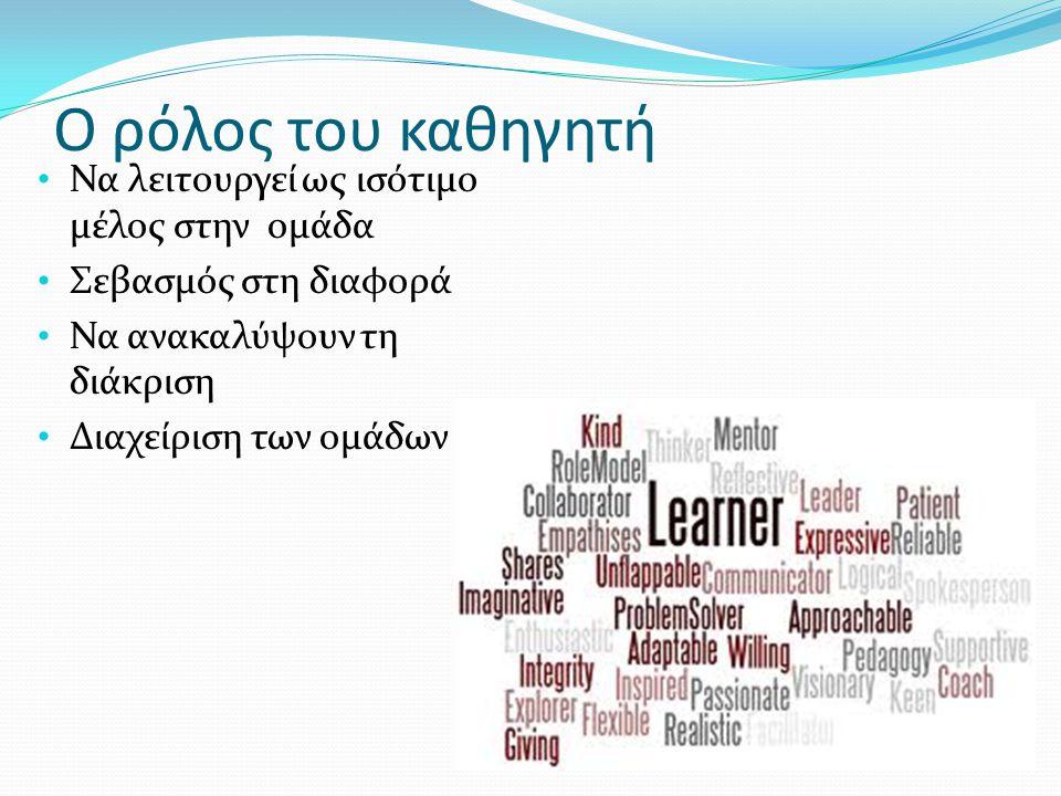 Ο ρόλος του καθηγητή Να λειτουργεί ως ισότιμο μέλος στην ομάδα Σεβασμός στη διαφορά Να ανακαλύψουν τη διάκριση Διαχείριση των ομάδων