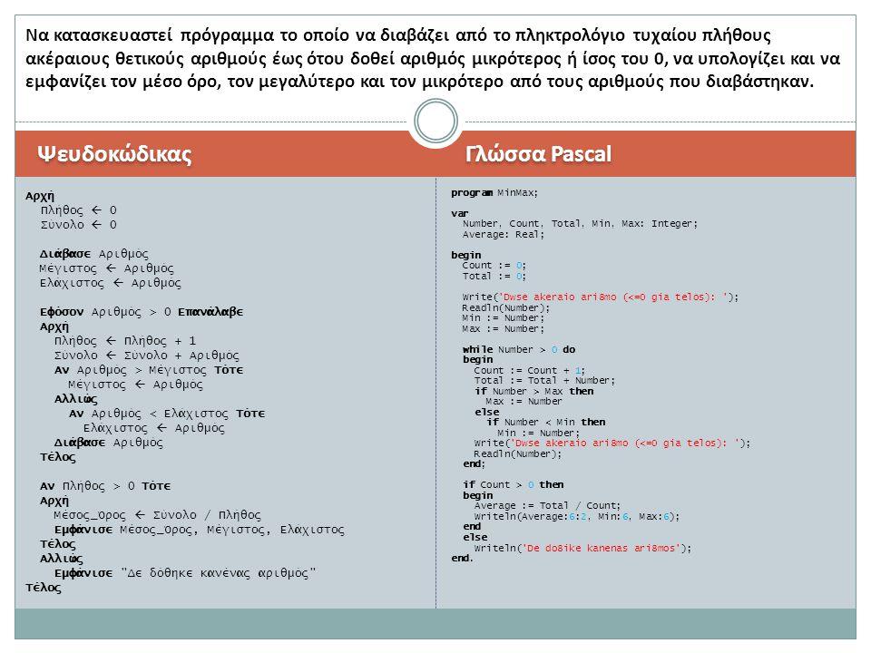 Ψευδοκώδικας Γλώσσα Pascal Αρχή Πλήθος  0 Σύνολο  0 Διάβασε Αριθμός Μέγιστος  Αριθμός Ελάχιστος  Αριθμός Εφόσον Αριθμός > 0 Επανάλαβε Αρχή Πλήθος