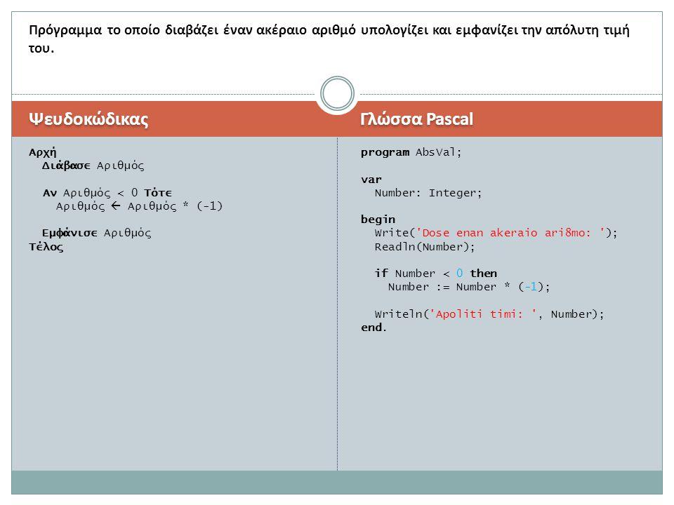 Ψευδοκώδικας Γλώσσα Pascal Αρχή Διάβασε Αριθμός Αν Αριθμός < 0 Τότε Αριθμός  Αριθμός * (-1) Εμφάνισε Αριθμός Τέλος program AbsVal; var Number: Intege