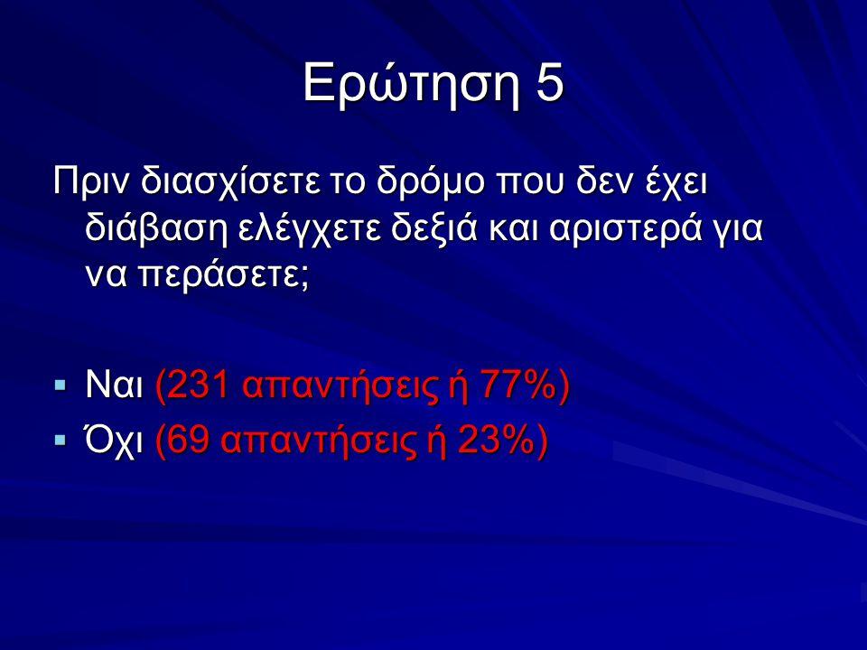 Ερώτηση 5 Πριν διασχίσετε το δρόμο που δεν έχει διάβαση ελέγχετε δεξιά και αριστερά για να περάσετε;  Ναι (231 απαντήσεις ή 77%)  Όχι (69 απαντήσεις