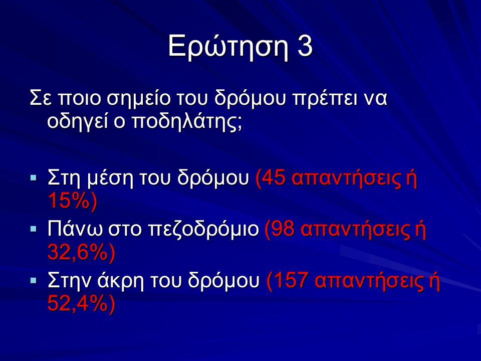 Ερώτηση 3 Σε ποιο σημείο του δρόμου πρέπει να οδηγεί ο ποδηλάτης;  Στη μέση του δρόμου (45 απαντήσεις ή 15%)  Πάνω στο πεζοδρόμιο (98 απαντήσεις ή 3