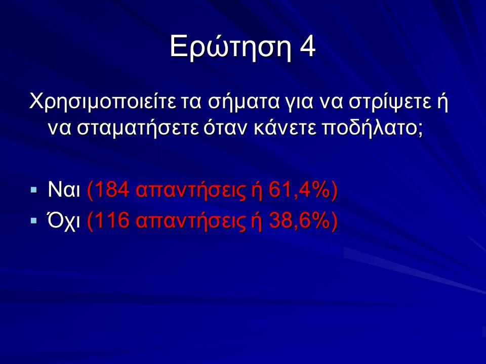 Ερώτηση 4 Χρησιμοποιείτε τα σήματα για να στρίψετε ή να σταματήσετε όταν κάνετε ποδήλατο;  Ναι (184 απαντήσεις ή 61,4%)  Όχι (116 απαντήσεις ή 38,6%