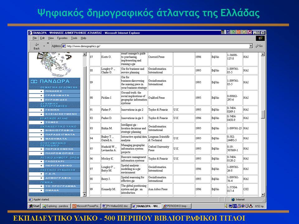 Ψηφιακός δημογραφικός άτλαντας της Ελλάδας ΕΚΠΑΙΔΕΥΤΙΚΟ ΥΛΙΚΟ - 500 ΠΕΡΙΠΟΥ ΒΙΒΛΙΟΓΡΑΦΙΚΟΙ ΤΙΤΛΟΙ