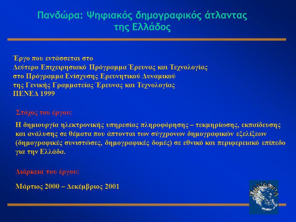 Πανδώρα: Ψηφιακός δημογραφικός άτλαντας της Ελλάδος Έργο που εντάσσεται στο Δεύτερο Επιχειρησιακό Πρόγραμμα Έρευνας και Τεχνολογίας στο Πρόγραμμα Ενίσχυσης Ερευνητικού Δυναμικού της Γενικής Γραμματείας Έρευνας και Τεχνολογίας ΠΕΝΕΔ 1999 Η δημιουργία ηλεκτρονικής υπηρεσίας πληροφόρησης – τεκμηρίωσης, εκπαίδευσης και ανάλυσης σε θέματα που άπτονται των σύγχρονων δημογραφικών εξελίξεων (δημογραφικές συνιστώσες, δημογραφικές δομές) σε εθνικό και περιφερειακό επίπεδο για την Ελλάδα.