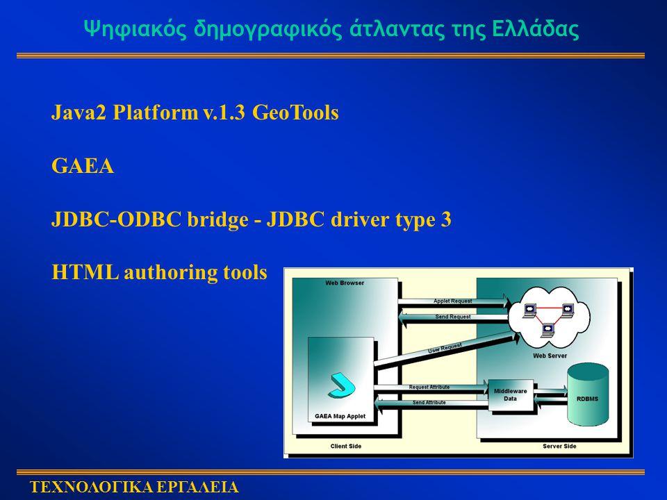 Ψηφιακός δημογραφικός άτλαντας της Ελλάδας ΤΕΧΝΟΛΟΓΙΚΑ ΕΡΓΑΛΕΙΑ Java2 Platform v.1.3 GeoTools GAEA JDBC-ODBC bridge - JDBC driver type 3 HTML authoring tools