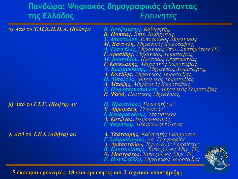 Πανδώρα: Ψηφιακός δημογραφικός άτλαντας της Ελλάδος Ερευνητές α) Από το Τ.Μ.Χ.Π.Π.Α.