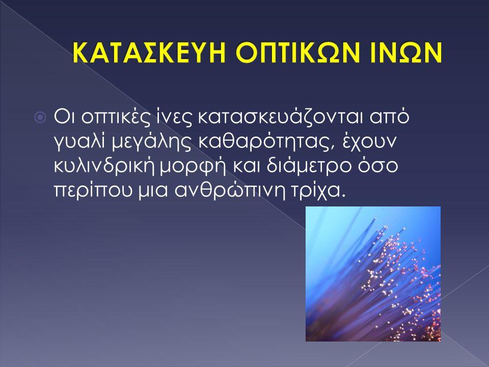  Οι οπτικές ίνες κατασκευάζονται από γυαλί μεγάλης καθαρότητας, έχουν κυλινδρική μορφή και διάμετρο όσο περίπου μια ανθρώπινη τρίχα.