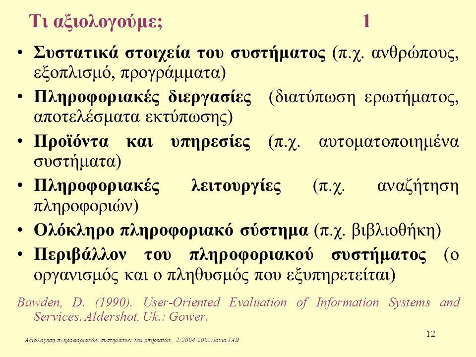 Αξιολόγηση πληροφοριακών συστημάτων και υπηρεσιών, 2/2004-2005/Ιόνιο ΤΑΒ 12 Τι αξιολογούμε;1 Συστατικά στοιχεία του συστήματος (π.χ.