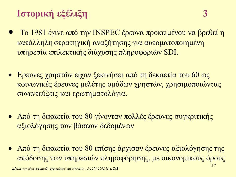 Αξιολόγηση πληροφοριακών συστημάτων και υπηρεσιών, 2/2004-2005/Ιόνιο ΤΑΒ 17 Ιστορική εξέλιξη3  Το 1981 έγινε από την INSPEC έρευνα προκειμένου να βρεθεί η κατάλληλη στρατηγική αναζήτησης για αυτοματοποιημένη υπηρεσία επιλεκτικής διάχυσης πληροφοριών SDI.